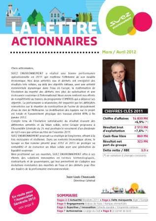 lettre aux actionnaires SUEZ ENVIRONNEMENT MARS AVRIL 2012