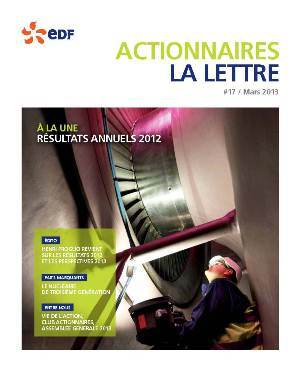 Lettre aux actionnaires EDF Mars 2013