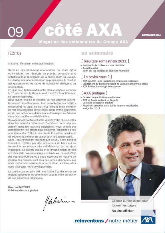 Lettre aux actionnaires de Septembre 2011 AXA